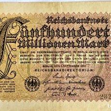 Moedas antigas da Europa: ALEMANIA - IMPERIAL BANKNOTES - 500 MILLONES DE MARCOS - 1-9-1923 - SERIE VL-29 NR232769 - PICK 110D. Lote 276080848