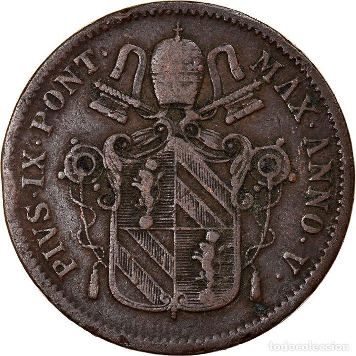 [#841276] MONEDA, ESTADOS ITALIANOS, PAPAL STATES, PIUS IX, BAIOCCO, 1850, ROMA, BC+ (Numismática - Extranjeras - Europa)