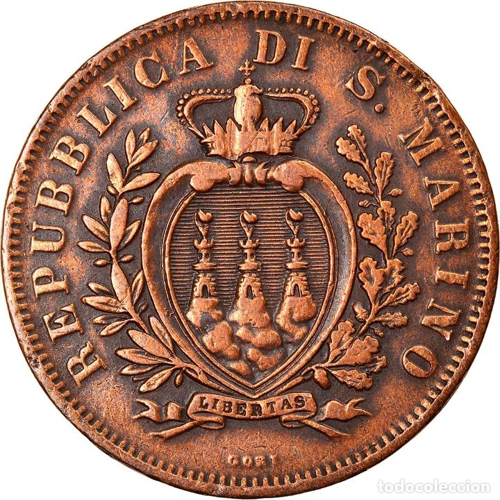 [#841274] MONEDA, SAN MARINO, 10 CENTESIMI, 1875, MBC, COBRE, KM:2 (Numismática - Extranjeras - Europa)