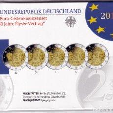 Monedas antiguas de Europa: ALEMANIA: SET OFICIAL 2 EURO 2013 LAS 5 CECAS 50 ANIV. TRATADO DEL ELISEO. Lote 277493143