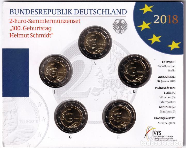 ALEMANIA: SET OFICIAL 2 EURO 2018 CENTENARIO DEL NACIMIENTO DE HELMUT SCHMIDT (Numismática - Extranjeras - Europa)