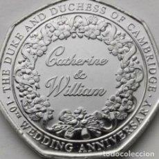 Monedas antiguas de Europa: GIBRALTAR 2021 - 50P. 10° ANIVERSARIO - BODA DEL DUQUE Y LA DUQUESA DE CAMBRIDGE. Lote 278448778