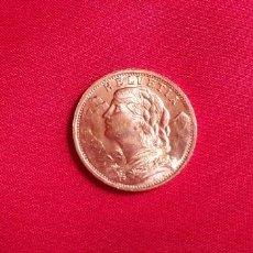 Monete antiche di Europa: MONEDA HELVETIA 20 FR 1947 DE ORO 22 K .MIDE 21.1 MM DIAMETRO Y PESA 6.45 G. Lote 287554283