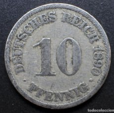 "Monedas antiguas de Europa: ALEMANIA, 10 PENIQUES 1890 - MARCA DE CECA ""A"" - BERLÍN. Lote 288302748"