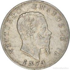 Monedas antiguas de Europa: [#371872] MONEDA, ITALIA, VITTORIO EMANUELE II, 5 LIRE, 1874, MILAN, BC+, PLATA, KM:8.3. Lote 289214903