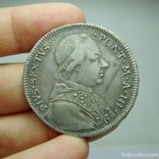 Monedas antiguas de Europa: 1/2 ESCUDO. PLATA. PIO VI. ESTADOS PONTIFICIOS. 1777. Lote 289256848