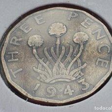 Monedas antiguas de Europa: INGLATERRA/REINO UNIDO/GRAN BRETAÑA 3 PENIQUES 1943. Lote 289684618