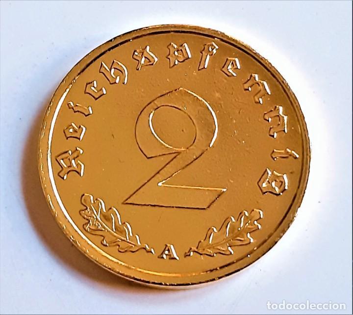 Monedas antiguas de Europa: MONEDA DE ORO 24.KT. ALEMANA 2 REICHSPHENNIG 1939 - Foto 2 - 291255583