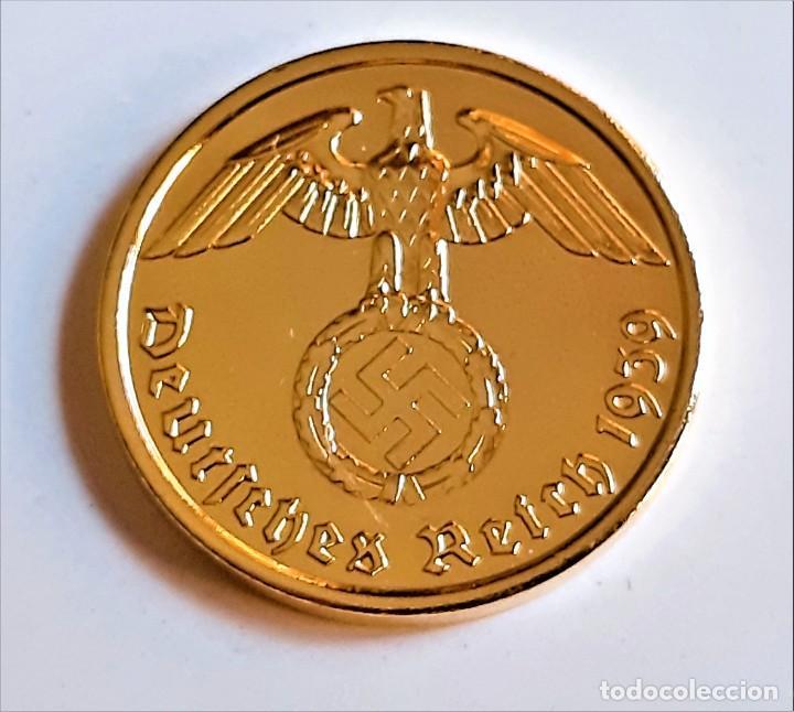 Monedas antiguas de Europa: MONEDA DE ORO 24.KT. ALEMANA 2 REICHSPHENNIG 1939 - Foto 3 - 291255583