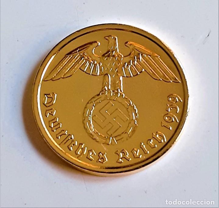 Monedas antiguas de Europa: MONEDA DE ORO 24.KT. ALEMANA 2 REICHSPHENNIG 1939 - Foto 4 - 291255583