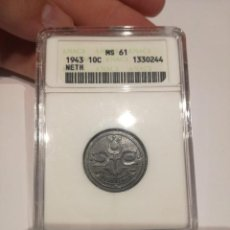 Monedas antiguas de Europa: HOLANDA. 10 CÉNTIMOS DE 1943. SIN CIRCULAR. ENCAPSULADO Y CERTIFICADO ANACS MS61.. Lote 293430143