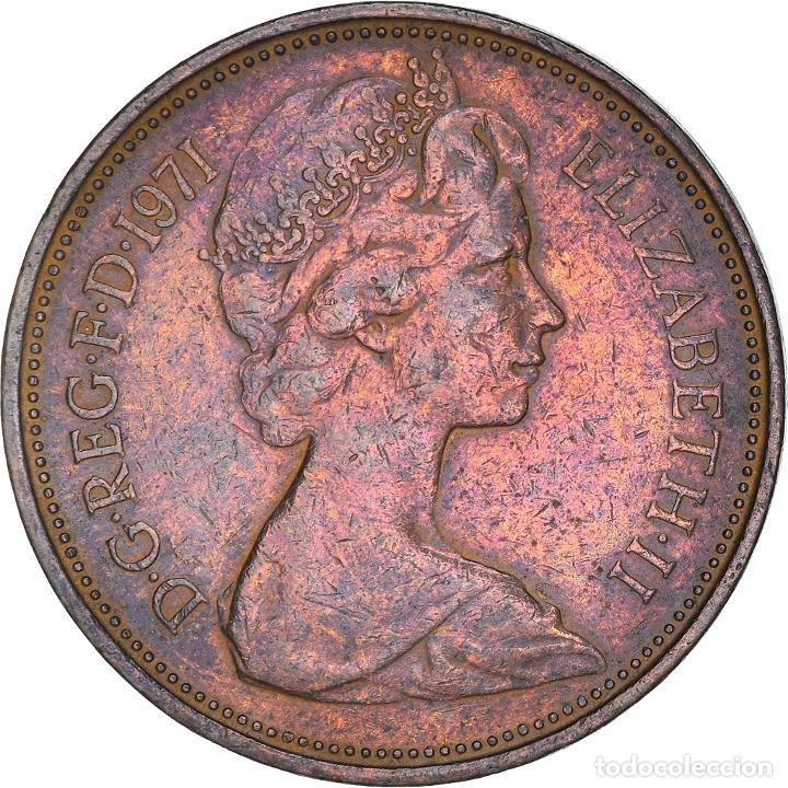 [#365854] MONEDA, GRAN BRETAÑA, ELIZABETH II, 2 NEW PENCE, 1971, BC+, BRONCE, KM:916 (Numismática - Extranjeras - Europa)