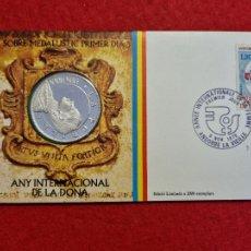 Monedas antiguas de Europa: MONEDA MEDALLA PLATA ANDORRA LA PUBILLA AÑO INTERNACIONAL DE LA MUJER 1975 ORIGINAL. Lote 295306703