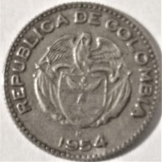 Monedas antiguas de Europa: COLOMBIA - 10 CENTAVOS 1954 B - 2,20 GR. CUPRONIQUEL - DIAMETRO 18 MM - KM#212 - MB. Lote 295834368