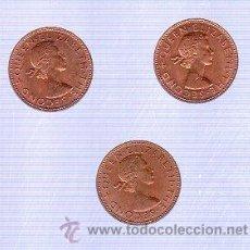 Monedas antiguas de Oceanía: LOTE DE TRES MONEDAS. HALF PENNY. 1962. NEW ZEALAND. S/C.. Lote 29127503