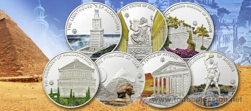 PALAU 7 X 1 $ 2009 MARAVILLAS DEL MUNDO ANTIGUO (COLECCION COMPLETA) (Numismática - Extranjeras - Oceanía)