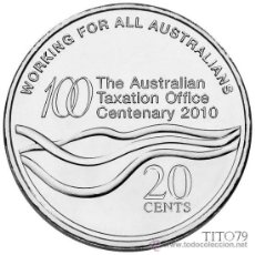 Monedas antiguas de Oceanía: AUSTRALIA 20 CENT 2010 CENTENARIO OFICINA DE ADUANAS. Lote 196327191
