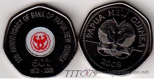 PAPUA NUEVA GUINEA 50 TOEA 2008 35º ANIV. BANCO CENTRAL (Numismática - Extranjeras - Oceanía)