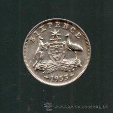 Monedas antiguas de Oceanía: AUSTRALIA. 6 PENIQUES. AÑO 1955. PLATA.. Lote 35480773