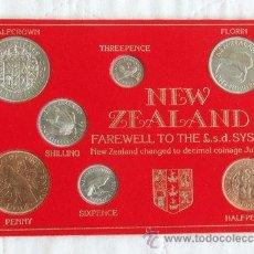 Monedas antiguas de Oceanía: CARTÓN-CARTERA NUEVA ZELANDA 1963 - 1965 CAMBIO AL SISTEMA DECIMAL. Lote 35908873