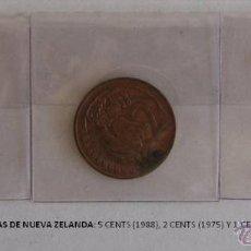 Monedas antiguas de Oceanía: MONEDAS DE NUEVA ZELANDA: 5 CENTS (1988), 2 CENTAS (1975) Y 1 CENT (1967). Lote 39347544