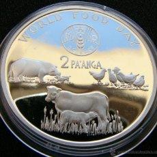 Monedas antiguas de Oceanía: TONGA 2 PA'ANGA 1981 FAO PROOF PLATA. Lote 49058028