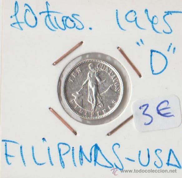 FILIPINAS 10 CTVOS PLATA 1945 D . MUY BIEN CONSERVADA (Numismática - Extranjeras - Oceanía)