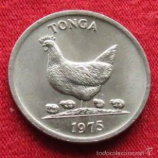 Monedas antiguas de Oceanía: TONGA 5 SENTI 1975 FAO F.A.O. GALLINAS. Lote 149696120