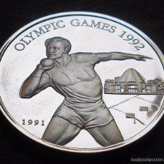 Monedas antiguas de Oceanía: SAMOA I SISIFO 10 DÓLARES 1991 JJOO 1992 LANZAMIENTO DE PESO -PLATA-. Lote 57203030