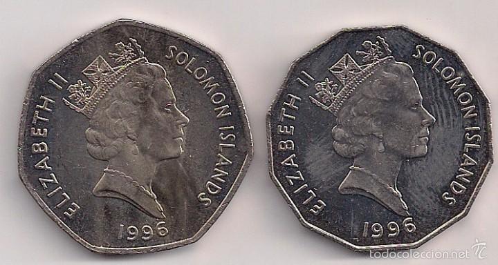 Monedas antiguas de Oceanía: Islas Solomón - 2 monedas de 50 cents y 1 dólar 1996 Kms 29/72 - Foto 2 - 60540771