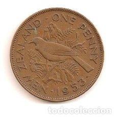 Monnaies anciennes d'Océanie: NUEVA ZELANDA 1 PENNY 1953 ISABEL II ELIZABETH II REVERSO AVE DEL PARAISO. Lote 63505260