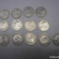 Monedas antiguas de Oceanía: AUSTRALIA, 13 MONEDAS DE PLATA DE SIXPENCE . REYES JORGE V Y JORGE VI. Lote 70303573