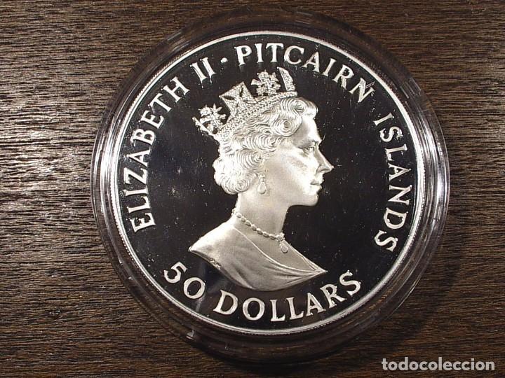 Monedas antiguas de Oceanía: PITCAIRN 50 DOLARES 1988 (155,5 GRAMOS - 5 ONZAS TROY) - Foto 2 - 90542070