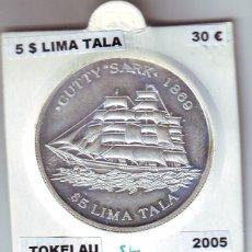 Monedas antiguas de Oceanía: TOKELAU 5 DÓLARES LIMA TALA 2005 PLATA. Lote 93868425