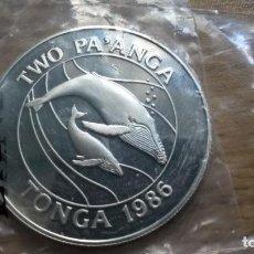 Monedas antiguas de Oceanía: ISLAS TONGA. 2 PA'ANGA DE PLATA DE 1986. BALLENAS. PROOF. Lote 95538363
