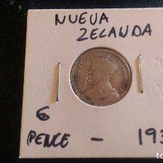 Monedas antiguas de Oceanía: MONEDA ORIGINAL, NUEVA ZELANDA 6 PENCE 1933 PLATA BUEN ESTADO. Lote 97440387
