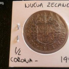 Monedas antiguas de Oceanía: MONEDA ORIGINAL, NUEVA ZELANDA 1/2 CORONA 1948 MUY BUEN ESTADO. Lote 97440495