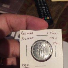 Monedas antiguas de Oceanía: POLINESIA FRANCESA KM2. 1 FRANCO 1965 UNC. Lote 97649528