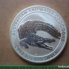 Monedas antiguas de Oceanía: 1 DOLLAR AUSTRALIA 2014 PLATA 999 1 0Z PROOF CROCODILE. Lote 107509819