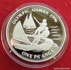 Monedas antiguas de Oceanía: TONGA 1 PAANGA 1992 VELA ATLANTA 1996. Lote 107934235