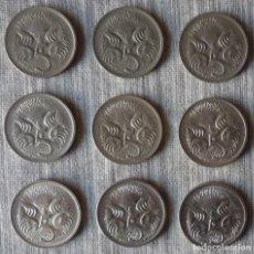 Monedas antiguas de Oceanía: LOTE DE 9 MONEDAS DE 5 CENT DE AUSTRALIA. CON AÑOS DIFERENTES. Lote 109535755
