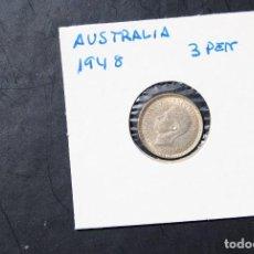 Monedas antiguas de Oceanía: AUSTRALIA, 3 PENIQUES -PLATA- AÑO 1948. Lote 115240371
