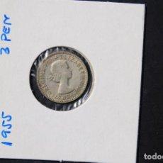 Monedas antiguas de Oceanía: AUSTRALIA, 3 PENIQUES -PLATA- AÑO 1955. Lote 115240599