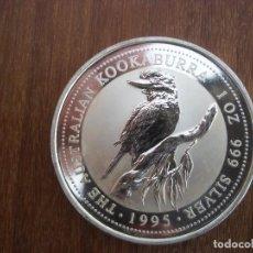 Monedas antiguas de Oceanía: ONE DOLLAR AUSTRALIA 1 OZ 31 GR 1995 PLATA 999 KOOKABURRA. Lote 116219511