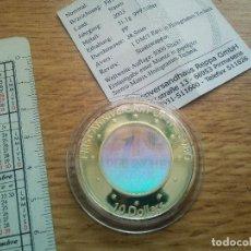 Monedas antiguas de Oceanía: NAURU 10 DOLARES 2003. PLATA. HOLOGRAMA: ANIVERSARIO DEL EURO + CERTIFICADO. Lote 117054523