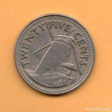 Monedas antiguas de Oceanía: BARBADOS - 25 CENTS. Lote 199462691