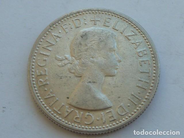 Monedas antiguas de Oceanía: MONEDA DE PLATA DE 1 florin de Australia de 1954, Reina Isabel II de Inglaterra., pesa 11,3 gramos - Foto 2 - 121280551