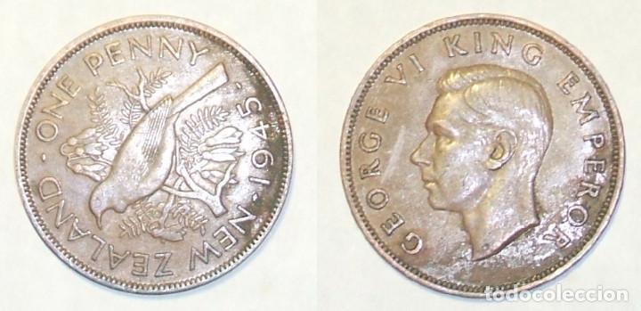 KM# 13 - Nueva Zelanda - 1 Penny, 1945 - (Very Fine)