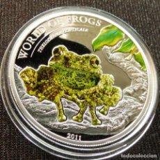 Monedas antiguas de Oceanía: PALAU 2 $ 2011 RANA SAPO THELODERMA CORTICAL. Lote 133595250