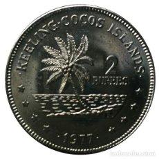 Monedas antiguas de Oceanía: ISLAS KEELING COCOS 2 RUPIAS 1977 (SIN CIRCULAR). Lote 133904602